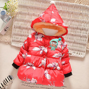 BibiCola Winter Baby Girls Cotton Down Solid Bow Hooded Kids Infant Parkas Princess Style Snow Wear Outerwear Coat