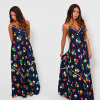 Vintage 70s FLORAL Maxi Dress Boho HALTER Dress Navy Blue HIPPIE Dress Bright Color Floral Prairie Dress