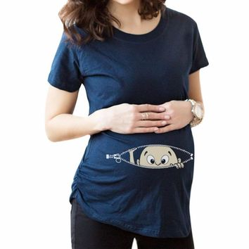Pregnant Women T-shirts Maternity clothes Slim Cartoon Nursing Top Letters O-Neck Pregnancy long Tee shirts ropa embarazada