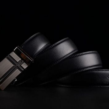 Embossed Black Leather Belt with Silver Cross Buckle