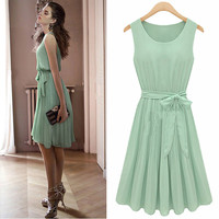 Light Green Sleeveless Pleated A-Line Dress