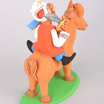 Ceramic collectible figurine Getman Riding a Horse handmade clay statuette