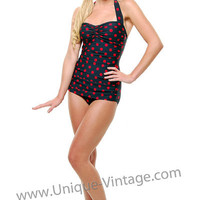 Plus Size Vintage Swimsuit 50's Style Pin Up BLACK with Red Polka Dot Bathing Suit - Unique Vintage - Bridesmaid & Wedding Dresses