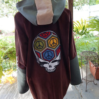 Mens Corduroy Baja Hoodie Size L  LARGE Grateful Dead  Steal Your Face patchwork Hooded Pullover Shirt hoodie unisex Corduroy hoodie