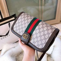 GUCCI High Quality Fashion Women Leather Stripe Shoulder Bag Crossbody Satchel