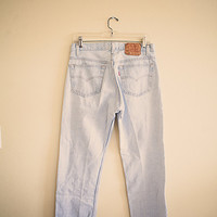 Levi's 501 Vintage Acid Washed Worn in Light Blue Denim Jeans Button Fly Distressed 32 x 30 Boyfriend Jeans 80's