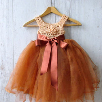 NEW! Brown tutu baby dress, Chocolate flower girl dress, Crochet tulle dress, Toddler tulle dress