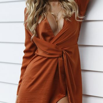 Twisted Satin Dress (Rust)