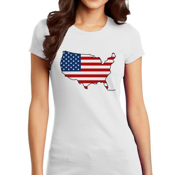 United States Cutout - American Flag Design Juniors T-Shirt by TooLoud