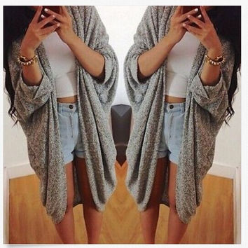 Grey Half Sleeve Long Coat