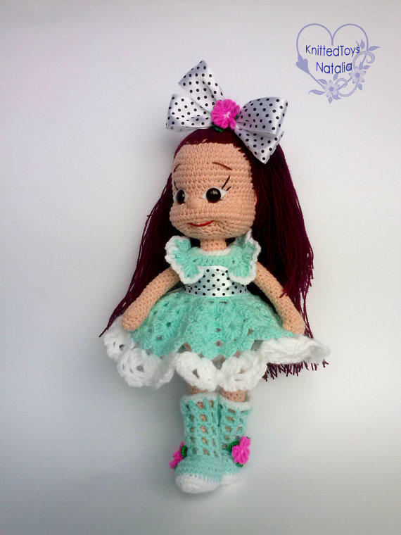 Crochet Hair On Dolls : Doll Christina Knitted doll Amigurumi from KnittedToysNatalia on