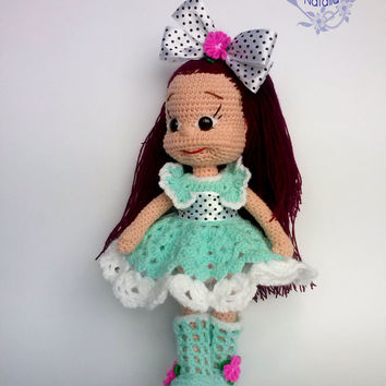 Doll Christina Knitted doll Amigurumi crochet dolls - Sweet girl doll in a  green dress with white  vinous hair bag fashion boots