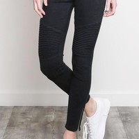 Jade Cotton  Denim Moto Jeans in Black