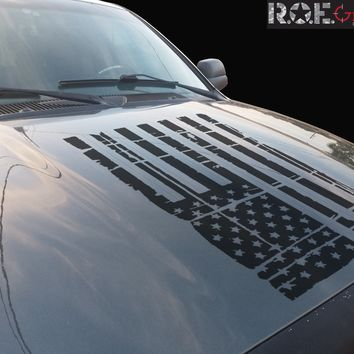 American Distressed Grunge Hood Flag Vinyl Decal