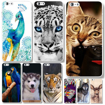 "Phone Case For Apple iPhone 6 6s 4.7"" Lovely Tiger Cat Dogs painted patterns Hard Protector Phone Cases Back Cover WHD1124"