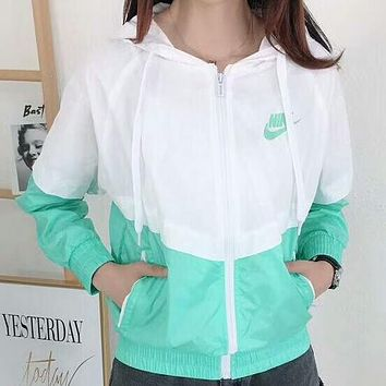 NIKE 2018 summer new women's hooded jacket color matching breathable zipper cardigan jacket F-AG-CLWM Green