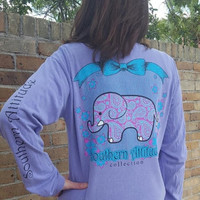 Southern Attitude Preppy Classy Elephant Violet Comfort Colors Long Sleeve T-Shirt