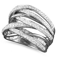 Classique by EFFY Diamond Multi-Row Ring (3/4 ct. t.w.) in 14k White Gold