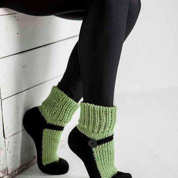 Knit Slipper Sock Adult Maryjane Slipper Sox Green House Slippers Womens Slippers Home Slippers Black House Shoes Home Shoes