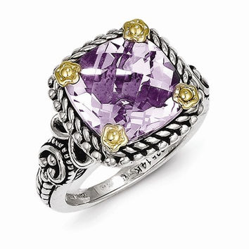 Sterling Silver Gold Pink Amethyst Ring