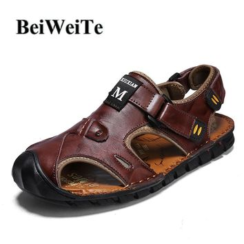 Autumn Men Sandals Hiking Fishing Water Beach Shoes Safety Closed Toe Genuine Leather Wearable Walking Male Outdoor Sport Shoes