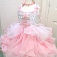 """SALE Made-to-Order Glitz Pageant Babydoll Dress """"Cotton Candy Swirls"""" - Pink , White"""