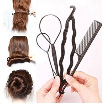 YIZJ 4 Pcs Plastic Magic Topsy Tail Hair Braid Ponytail Styling Maker Clip Tool Black