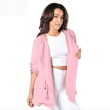 Women Spring Autumn Fashion Hooded Long Coat Pink Lady Loose Casual Trench New Female Girl Windbreaker Outwear  Dec15