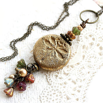 Dragonfly necklace with tiny flowers, Golden Necklace, Gold Dragonfly Pendant, Beaded Necklace, Dragonfly jewelry, Floral Jewelry