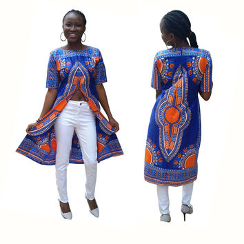 Blue African Dashiki long Split Shirts
