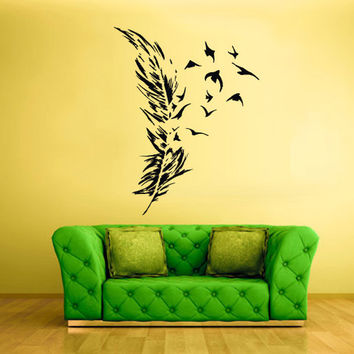 rvz1427 Wall Decal Vinyl Sticker Decals Feathers Birds Fly Away