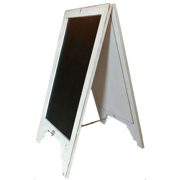 Vintage Shabby Chic Large White Free Standing Wood Frame Two-Sided Sandwich Chalkboard