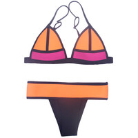 Orange and Black Color Block Triangle Bikini