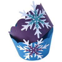 12 Frozen Party Cupcake Wrappers - Snowflake Decorations