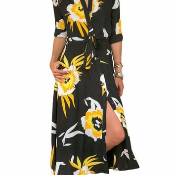 Black Yellow Floral Print Button Down Belted Shirt Dress