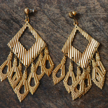 Vintage Pierced Earrings Stamped Large Chandelier Style Dangle Gold Tone Belly Dancing Boho 1980's // Vintage Costume Jewelry