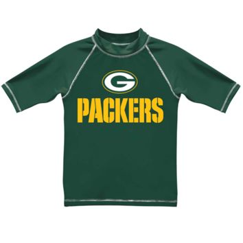 Green Bay Packers Youth Arch Logo Short Sleeve Rashguard - Green - http://www.shareasale.com/m-pr.cfm?merchantID=7124&userID=1042934&productID=505597562 / Green Bay Packers
