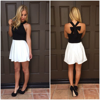 Tuxedo Cross Bow Dress