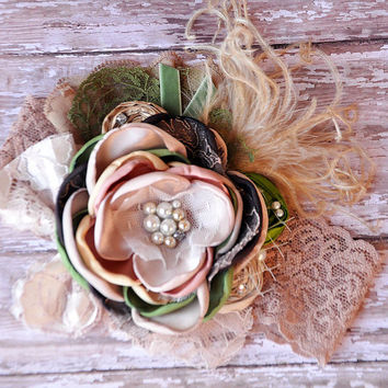 Harvest bouquet couture headband- beautiful natural colors- fall wedding- photo prop- Thanksgiving- Autumn celebrations- Newborn to Adult
