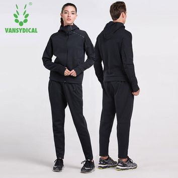 Vansydical Winter Sports Suits Men Women Gym Clothes Running Set Outdoor Hooded Warm Fitness Workout Clothing Jogging Suits