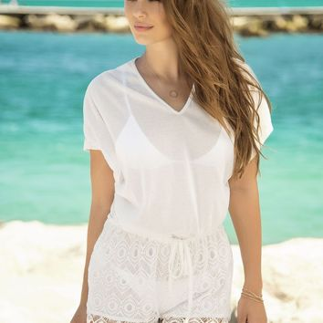 Mapale 7880 Cover Up and Beach Romper Color Ivory