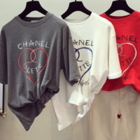 Chanel herat letter short sleeve top blouse T-shirt