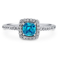 Sterling Silver Cushion Simulated Aquamarine CZ Halo Ring 0.64 ct.twBe the first to write a reviewSKU# R577-AQ