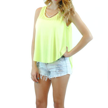 (anq) High low airy neon lime tank