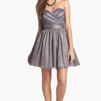 Hailey by Adrianna Papell Metallic Mesh Fit & Flare Dress
