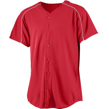 Augusta 583Wicking Button Front Baseball Jersey-Youth - Red White