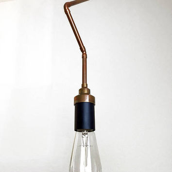 Plug-in Pendant Light - Industrial Lighting - Geometric Copper - Zig Zag Hanging Edison Lamp Chandelier - Unique Light Fixture - ETL listed