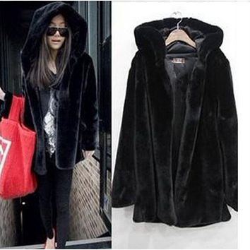 ooded Jacket Large fur collar long dress jacket