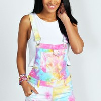 Alex Multi Coloured Tie Dye Denim Dungaree Shorts