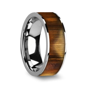 Men's Flat Tungsten Carbide Ring With Real Olive Wood Inlay 8mm